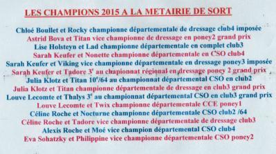 Resultats sportifs 2014/15 par Pauline